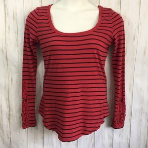 Free People Hand Candy Red Top Striped